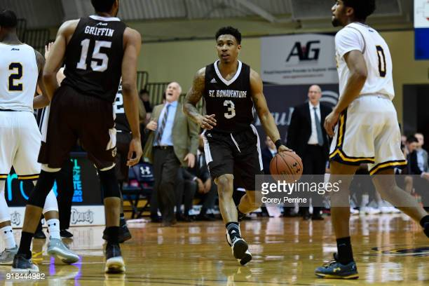 Jaylen Adams of the St Bonaventure Bonnies dribbles against the La Salle Explorers during the first half at Tom Gola Arena on February 13 2018 in...