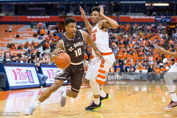 Jaylen Adams of the St Bonaventure Bonnies dribbles around the defense of Malachi Richardson of the Syracuse Orange on November 17 2015 at The...