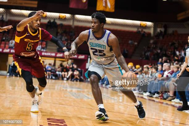 Jaylen Barford of the Greensboro Swarm drives to the basket against the Canton Charge on December 15 2018 at the Canton Memorial Civic Center in...