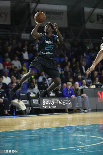 Jaylen Barford of the Greensboro Swarm drives to the basket against the Long Island Nets in Greensboro, North Carolina. NOTE TO USER: User expressly...