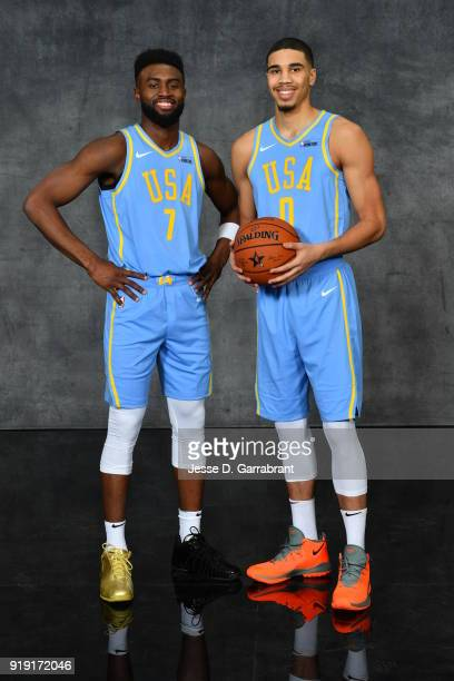 Jaylen Brown and Jayson Tatum of the Boston Celtics pose for portraits before the Mountain Dew Kickstart Rising Stars Game during AllStar Friday...
