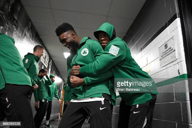 Jaylen Brown and Semi Ojeleye of the Boston Celtics hug in the hallway before the game against the New York Knicks on October 24 2017 at the TD...