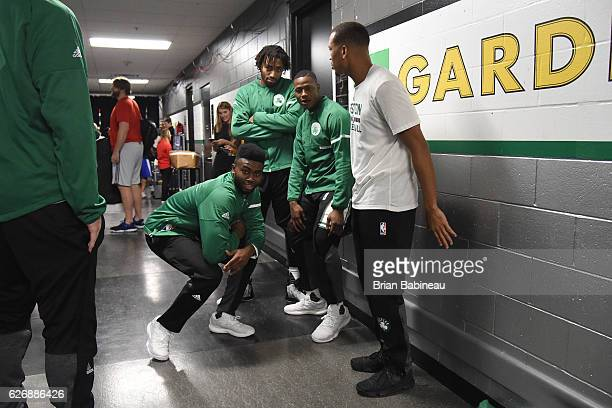 Jaylen Brown James Young and Terry Rozier of the Boston Celtics are seen before the game against the Detroit Pistons son November 30 2016 at the TD...