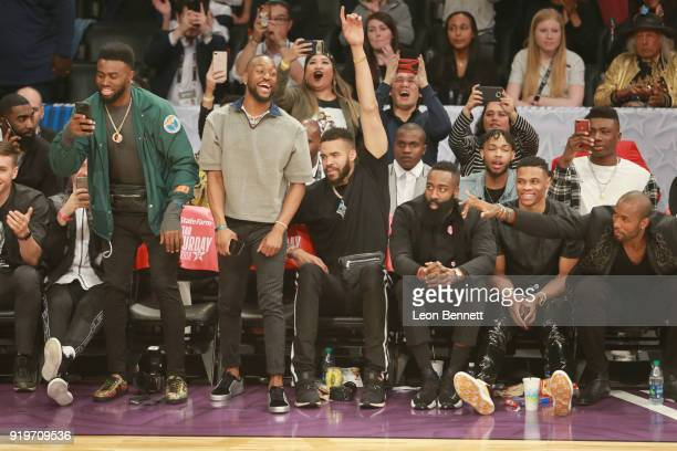 Jaylen Brown Kemba Walker JaVale McGee James Harden Russell Westbrook and Serge Ibaka attend The 2018 State Farm AllStar Saturday Night at Staples...