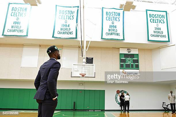 Jaylen Brown looks up at the banners at the practice facility after being drafted by the Boston Celtics during the 2016 NBA Draft on June 24 2016 at...
