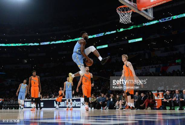 Jaylen Brown of Team USA dunks during the 2018 Mountain Dew Kickstart Rising Stars Game at Staples Center on February 16 2018 in Los Angeles...