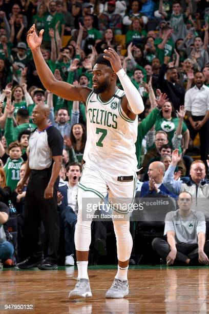 Jaylen Brown of the Boston Celtics addresses the crowd during the game against the Milwaukee Bucks in Game Two of Round One of the 2018 NBA Playoffs...