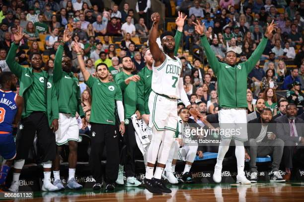 Jaylen Brown of the Boston Celtics and teammates react during the game against the New York Knicks on October 24 2017 at the TD Garden in Boston...