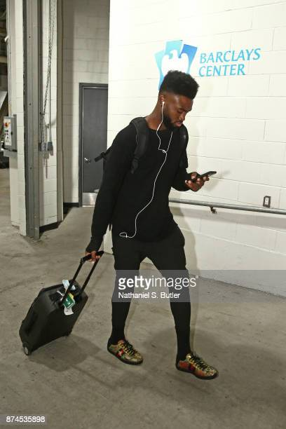 Jaylen Brown of the Boston Celtics arrives at the arena before the game against the Boston Celtics on November 14 2017 at Barclays Center in Brooklyn...