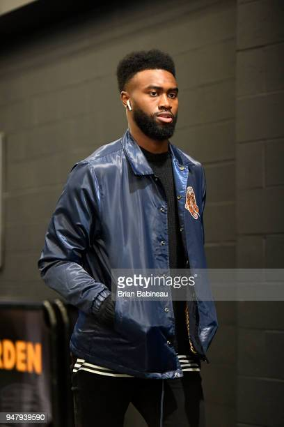 Jaylen Brown of the Boston Celtics arrives at the arena before the game against the Milwaukee Bucks in Game Two of Round One of the 2018 NBA Playoffs...