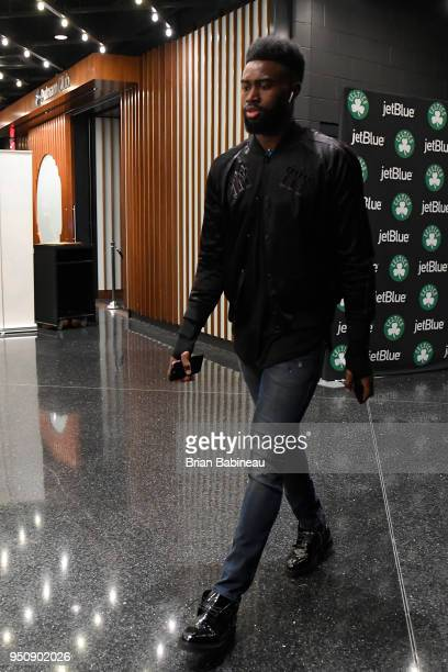 Jaylen Brown of the Boston Celtics arrives to the arena prior to Game Five of Round One of the 2018 NBA Playoffs against the Milwaukee Bucks on April...