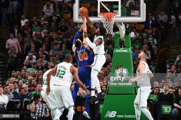 Jaylen Brown of the Boston Celtics blocks against the New York Knicks on October 24 2017 at the TD Garden in Boston Massachusetts NOTE TO USER User...