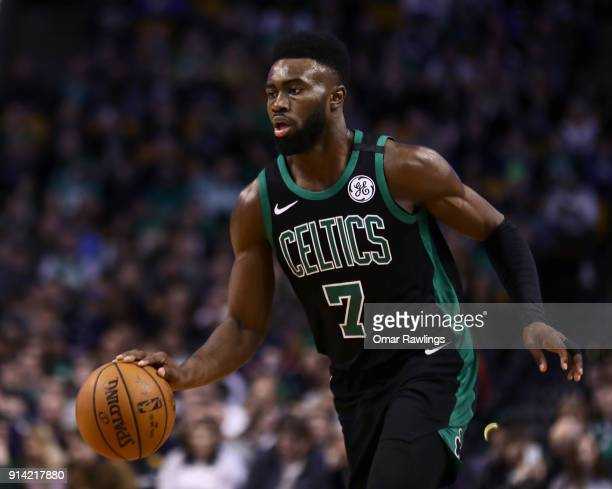 Jaylen Brown of the Boston Celtics brings the ball up court during the first quarter of the game against the Portland Trail Blazers at TD Garden on...