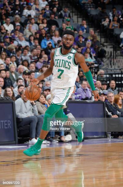 Jaylen Brown of the Boston Celtics brings the ball up the court against the Sacramento Kings on March 25 2018 at Golden 1 Center in Sacramento...