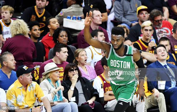 Jaylen Brown of the Boston Celtics celebrates after a threepointer in the second quarter against the Cleveland Cavaliers during Game Four of the 2017...