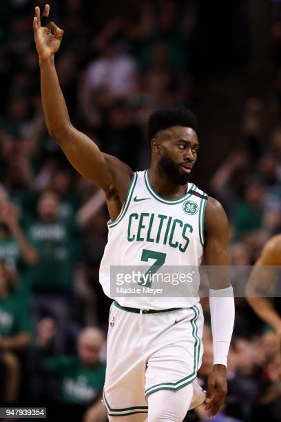 Jaylen Brown of the Boston Celtics celebrates after hitting a three point shot in the first quarter of Game Two in Round One of the 2018 NBA Playoffs...