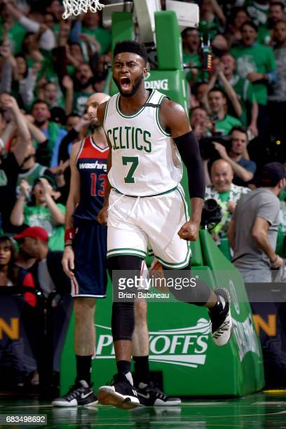 Jaylen Brown of the Boston Celtics celebrates after scoring against the Washington Wizards during Game Seven of the Eastern Conference Semifinals of...