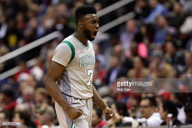 Jaylen Brown of the Boston Celtics celebrates after the Celtics scrored against the Washington Wizards at Verizon Center on January 24 2017 in...