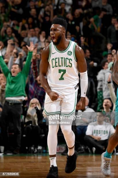 Jaylen Brown of the Boston Celtics celebrates during the game against the Charlotte Hornets on November 10 2017 at the TD Garden in Boston...