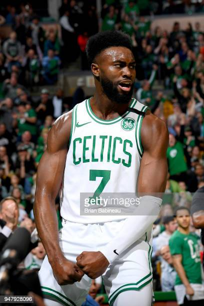 Jaylen Brown of the Boston Celtics celebrates during the game against the Milwaukee Bucks in Game Two of Round One of the 2018 NBA Playoffs on April...