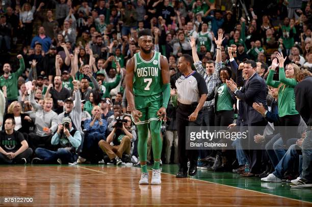 Jaylen Brown of the Boston Celtics celebrates hitting a three point shot during the game against the Golden State Warriors on November 16 2017 at the...