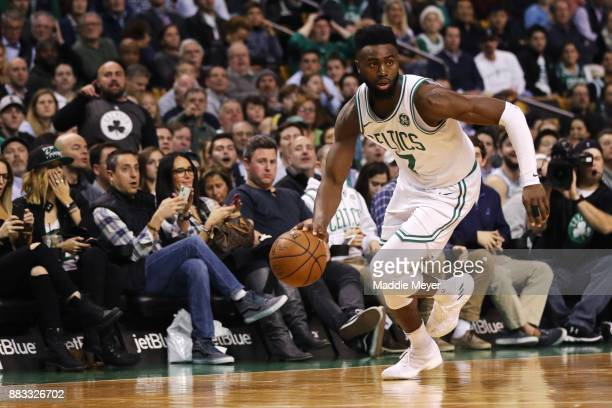 Jaylen Brown of the Boston Celtics dribbles against the Philadelphia 76ers during the second quarter at TD Garden on November 30 2017 in Boston...
