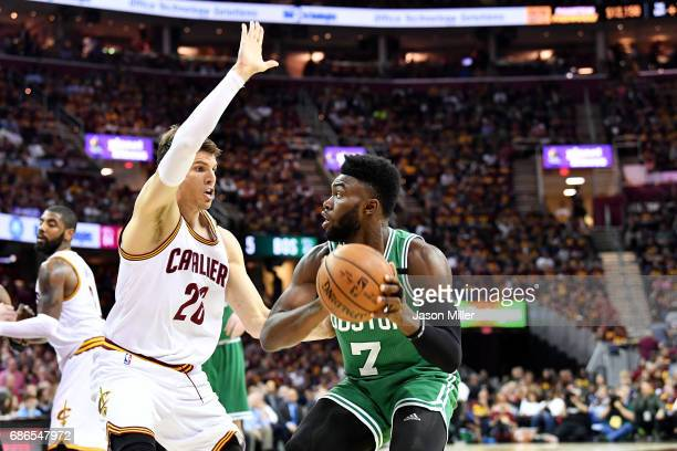 Jaylen Brown of the Boston Celtics drives against Kyle Korver of the Cleveland Cavaliers during Game Three of the 2017 NBA Eastern Conference Finals...