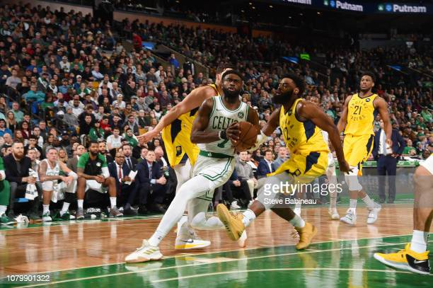 Jaylen Brown of the Boston Celtics drives through the paint during the game against the Indiana Pacers on January 9 2019 at the TD Garden in Boston...