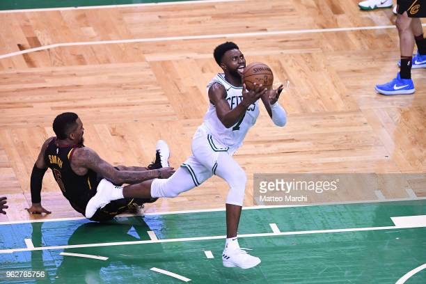 Jaylen Brown of the Boston Celtics drives to the basket against JR Smith of the Cleveland Cavaliers during Game Five of the 2018 NBA Eastern...