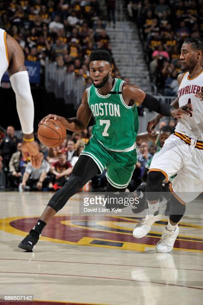 Jaylen Brown of the Boston Celtics drives to the basket against the Cleveland Cavaliers during Game Three of the Eastern Conference Finals of the...