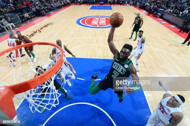 Jaylen Brown of the Boston Celtics drives to the basket against the Detroit Pistons on December 10 2017 at Little Caesars Arena in Detroit Michigan...