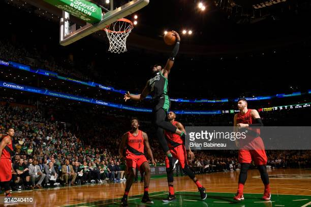 Jaylen Brown of the Boston Celtics drives to the basket against the Portland Trail Blazers on February 4 2018 at the TD Garden in Boston...