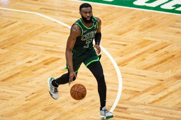 Jaylen Brown of the Boston Celtics drives to the basket during the second half against the Portland Trail Blazers at TD Garden on May 02, 2021 in...