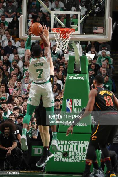 Jaylen Brown of the Boston Celtics drives to the basket during the game against the Cleveland Cavaliers on February 11 2018 at TD Garden in Boston...