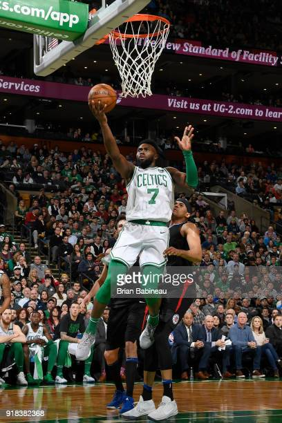 Jaylen Brown of the Boston Celtics drives to the basket during the game against the LA Clippers on February 14 2018 at the TD Garden in Boston...