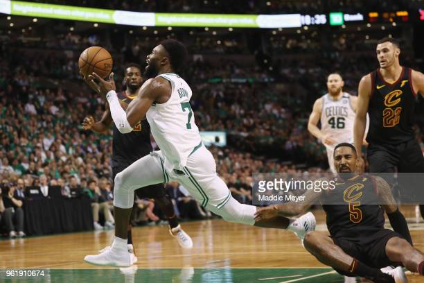Jaylen Brown of the Boston Celtics drives to the basket in the second half against the Cleveland Cavaliers during Game Five of the 2018 NBA Eastern...