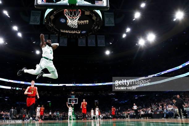 Jaylen Brown of the Boston Celtics dunks against the Atlanta Hawks at TD Garden on January 03 2020 in Boston Massachusetts The Celtics defeat the...