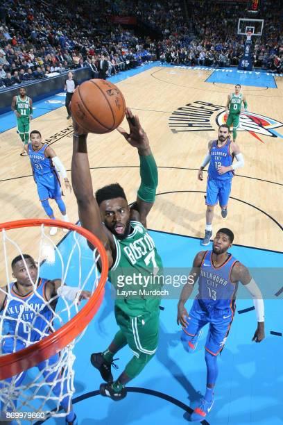 Jaylen Brown of the Boston Celtics dunks against the Oklahoma City Thunder on November 3 2017 at Chesapeake Energy Arena in Oklahoma City Oklahoma...