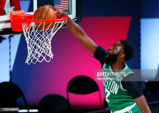Jaylen Brown of the Boston Celtics dunks against the Portland Trail Blazers at The Arena at ESPN Wide World Of Sports Complex on August 02, 2020 in...