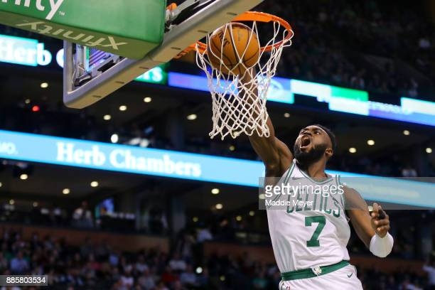 Jaylen Brown of the Boston Celtics dunks during the second half of the game against the Milwaukee Bucks at TD Garden on December 4 2017 in Boston...