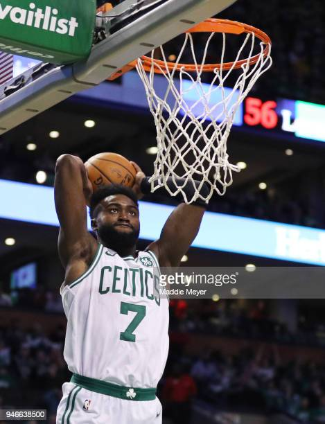 Jaylen Brown of the Boston Celtics dunks during the third quarter of Game One of Round One of the 2018 NBA Playoffs against the Milwaukee Bucks...
