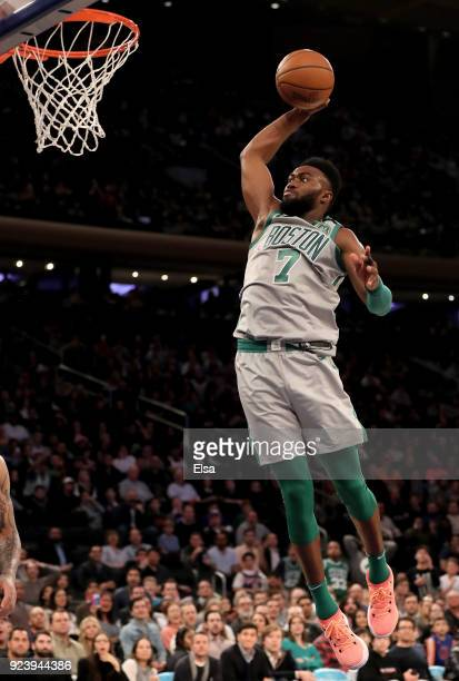 Jaylen Brown of the Boston Celtics dunks in the second half against the New York Knicks at Madison Square Garden on February 242018 in New York City...