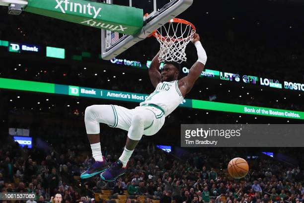 Jaylen Brown of the Boston Celtics dunks the ball during the first half against the Chicago Bulls at TD Garden on November 14 2018 in Boston...
