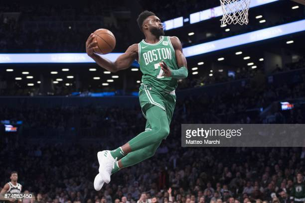Jaylen Brown of the Boston Celtics dunks the ball during the first half of the NBA game against the Brooklyn Nets at Barclays Center on November 14...