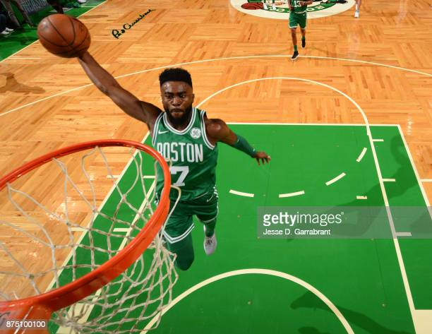 Jaylen Brown of the Boston Celtics dunks the ball during the game against the Golden State Warriors on November 16 2017 at the TD Garden in Boston...