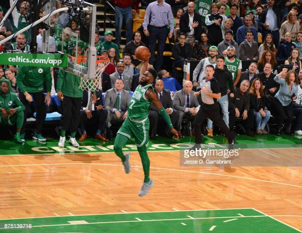 Jaylen Brown of the Boston Celtics dunks the ball during the game against the Golden State Warriors on November 16 2017 at the TD Garden in Boston...