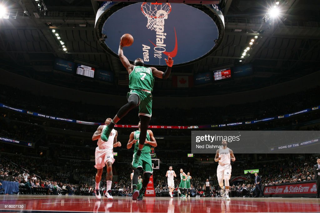 Jaylen Brown #7 of the Boston Celtics dunks the ball during the game against the Washington Wizards on February 8, 2018 at Capital One Arena in Washington, DC.
