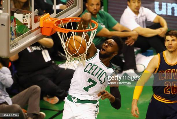 Jaylen Brown of the Boston Celtics dunks the ball in the first half against the Cleveland Cavaliers during Game One of the 2017 NBA Eastern...