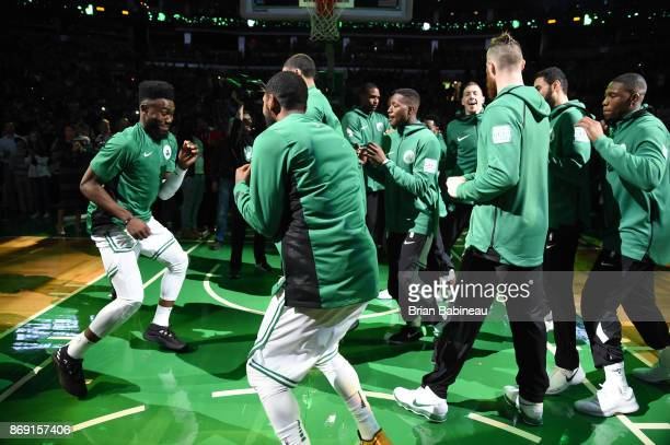 Jaylen Brown of the Boston Celtics gets introduced before the game against the Sacramento Kings on November 1 2017 at the TD Garden in Boston...