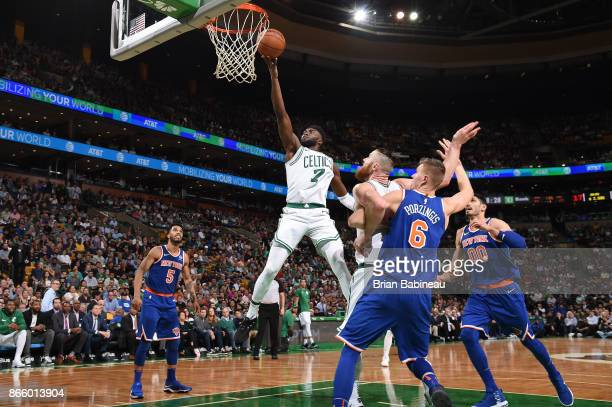 Jaylen Brown of the Boston Celtics goes to the basket against the New York Knicks on October 24 2017 at the TD Garden in Boston Massachusetts NOTE TO...